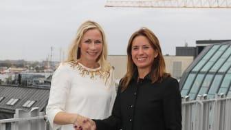 Pernilla Bonde, vd HSB Riksförbund, tillsammans med Johanna Norberg, vd Danske Bank Sverige.