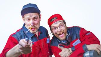 """""""Nyansatte"""" Bilia Bob og Donald Dekk vil bidra til latter og moro lørdag kl. 10-14."""