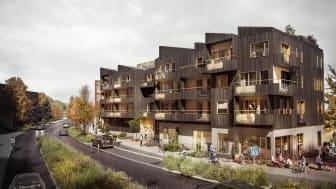 Huset kommer att byggas i trä och fasaden ska påminna om den skrovliga barken på ett träd. Arkitekter är Radar Arkitektur & Planering.