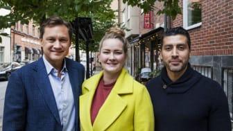 AI-poddens Ather Gattami gästas av Maria Norberg, grundare av och VD på teknikkvinnor samt Gustaf Hag-man, grundare av och VD på LeoVegas. Foto: Viktor Meidal.