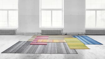 The Harvest range consists of modern woven rugs in colour-shifting hues, made entirely from residual yarn, each rug with a unique appearance.