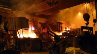 Interiörbild av stålverket Finkl Steel, Chicago, 2005. Foto: Payton Chung, DC, USA
