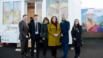 Barry Neilson (Chief Exec, CITB), Phillip Moorhead (Year 12), Grainne Mullin (Community Investment Manager, Radius Housing), Ruth Wilson (Dunclug College Principal), Sean Keenan (Mid and East Antrim Borough Council)and Laura Dubois-Pidgeon (Year 14).