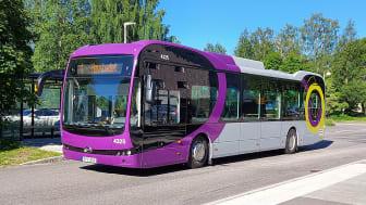 Så här ser Piteås nya stadsbussar ut.              Foto: Rebecca Granström