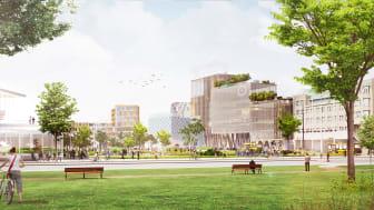 Framtidens Helsingborg C - med planerad bebyggelse, vy från Stadsparken