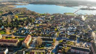 Drönarfoto av en del av centrala Sölvesborg 2019. Foto: Henrik Ivansson.