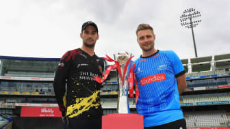Somerset captain Lewis Gregory (left) and Sussex Sharks captain Luke Wright pictured with the new Vitality Blast trophy at Edgbaston today (Friday), before their teams meet in the second semi final tomorrow