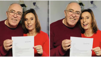 Overjoyed.  Andrew and Wendy Wilkinson holding letter from Seasons confirming their rights are reinstated