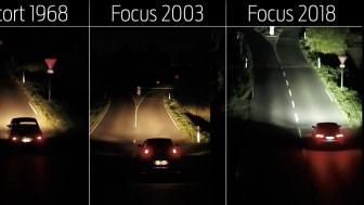 Ford Focus adaptiva ljussystem läser av vägen för att avgöra var strålkastarna ska lysa upp.