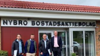 Jammy Stridsjö & Alexander Liljenberg BoKlok, Andreas Paulsson projektchef & Sulev Pull VD Nybro Bostads AB.