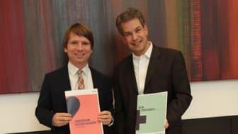 Daniel Schmalley, Leiter Kompetenzcenter Firmenkunden und Phillip Schilling, Geschäftsführer der Agentur Track