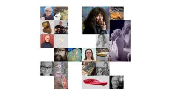 Bildkollage av konstnärerna och deras verk som medverkar i skulpturutställningen.