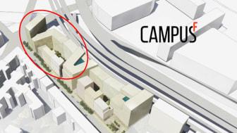 Volymstudie från jämförelseförfarande Västra Hagastaden Kvarter 39 inringat i rött