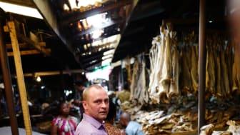 Ronny Berg på tørrfiskmarked i Nigeria