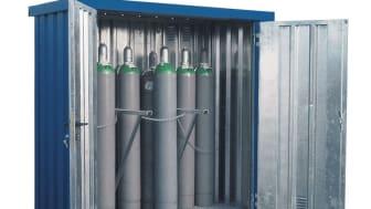 Ändamålsenlig förvaring av gas, gasol och brandfarliga ämnen i container från DENIOS