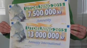 Sverige: Drygt 20 miljoner till Amnesty från PostkodLotteriet