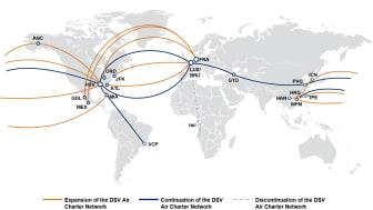 DSV Luftfracht Charter-Netzwerk Karte
