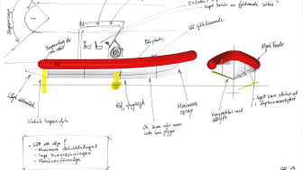 The first sketch of the electrical foiling rescue boat. A final design will be presented around the end of this year, and the prototype will be finished in 2023.