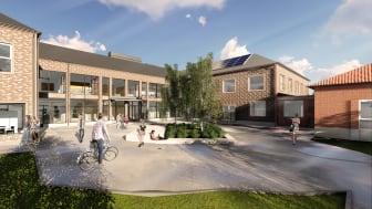 Nya Falkbergsskolan länkas till matsalen från 50-talet.