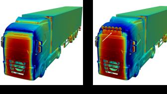 Simuleringen visar hur extraljusen ökar trycket i det kritiska området där de är monterade. Det leder till minskat sug framåt kring takövergången, vilket ger ökad bränsleförbrukning.