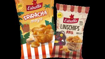 Två sommarsnacks från Estrella 2021: finräfflade potatischips Sriracha Mayo och Linschips BBQ