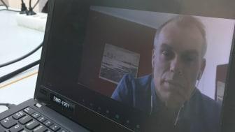 Ingmar Forss, missionsdirektor för EFK, höll andakt på distans inför årsmötets öppnande