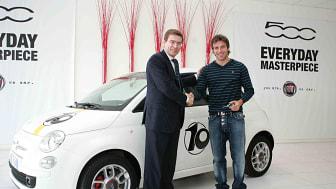 Juventus lagkapten Del Pieros nya bil – Fiat 500 n:o 10!