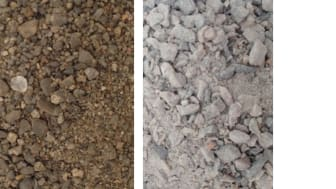 Rapport 2016-09s omslagsfoto: Exempel på naturgrus och bergkross/Elin Elmefors (JTI)