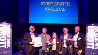 Från vänster: Mats Ahrén, kultur- och fritidsdirektör, Sören Andersson, arrangemangsenheten, Johanna Larsson, ordförande kultur- och fritidsnämnden, Jonas Kirvall, strateg och Stephan Hammar, verksamhetschef bad och sport.