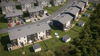 Översiktsillustration av det nya kvarteret BoKlok Sadelmakaren i Gunsta, Uppsala.