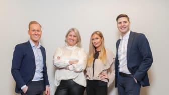 De nya franchisetagarna och säljkoordinatorn för HusmanHagberg Helsingborg, fr v: Martin Sadowski, Sara Engström, Jennifer Andreasson och Linus Månsson.