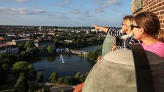 Blick vom Rathausturm über die Kieler Innenstadt