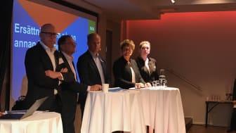 Jan Ridderwall, SPP, Anders Johansson, SEB; Bo Ågren, Skandia; Karin Lindblad, SFM; Jenny Nilsson, Insuresec