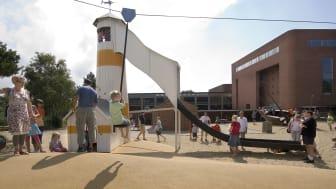 Billede fra legepladsen - hvor der er god plads og masser af frisk luft