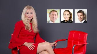 Brittiske retailexperten Ken Hughes, Nielsens Anna Ekström och Verifones Morgan Sellén är några av de som kommer att gästa Annmarie Palm i nyhetsstudion. Foto: Katriina Mäkinen/collage