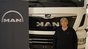 Jill Andersson, ny verkstadschef på MAN Truck Center i Malmö