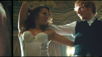 Marvin Gaye's Let's Get It On album cover (left) and a screen grab from Ed Sheeran's Thinking Out Loud music video (right)