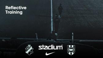 Stadiums samarbetsklubbar AIK och BP är först ut att använda reflexplaggen och tanken är att kollektionen ska lanseras bredare och med fler klubbar inför nästa säsong. Reflexkollektionen består av regnjacka, mössa, gym bags och ryggsäckar.