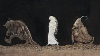 John Bauer, Bianca Maria och trollen, 1913, akvarell på papper, 31,5 x 33,5 cm. Foto: Bukowskis. Bild beskuren.