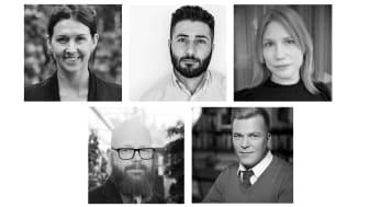 Stenbecks Stiftelses Expertråd. Övre raden: Annica Johansson, Ali Abdelzadeh och Judit Wefer. Nedre raden: Ola Mattson och Fredrik Livheim.