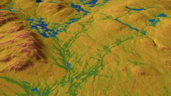"""SLU Markfuktighetskarta är högupplöst och visar markfuktigheten i en skala från 0 till 100, där låga värden anger torr mark och höga värden anger blöt mark. Färgerna på kartan """"smälter ihop"""" för att ge mjukare övergångar. Bild: William Lidberg"""