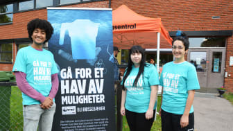 TV-aksjonskomiteen på Stovner, fra venstre leder Sebastian Leite Snell, Emilie Heide og Tanya Gencay.