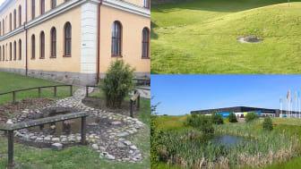 Rapportframsida: Vänster och nedre höger bilder: eget omhändertagande på kvartersmark, Norrköpings kommun. Bild överst till höger: översvämningsyta i villaområde, Växjö kommun. Foton: WSP Sverige AB