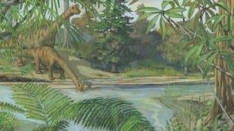 Rekonstruktion av ekosystem i Sverige under jura (för ca. 160 miljoner år sedan). Illustrationen är baserad på växtfossil från Fyledalen, Skåne vilka bevaras i Naturhistoriska riksmuseets samlingar.  Bild Naturhistoriska riksmuseet och Michael Rothma