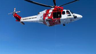 En av Sjöfartsverkets sju räddningshelikoptrar  under årets vinterträning i Kebnekaisefjällen. Foto: Sjöfartsverket