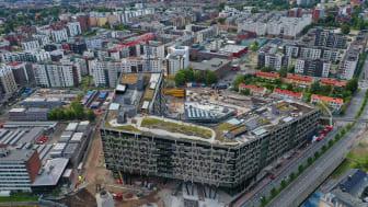 Taket på Økern Portal våkner til liv. Foto: Christian Grønvold Hansen.