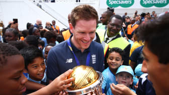 England ODI Captain Eoin Morgan celebrates ICC Men's World Cup win with kids from the All Stars Cricket programme