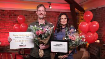 Peter Mohlin och Sofie Sarenbrant mottagare av Crimetime Award 2020. Foto: Karina Ljungdahl.