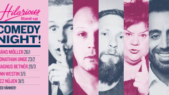 Ny säsong stand-up kvällar på Kajskjul 8 med Måns Möller, Jonathan Unge, Magnus Betnér, Ann Westin och Özz Nüjen våren 2020!
