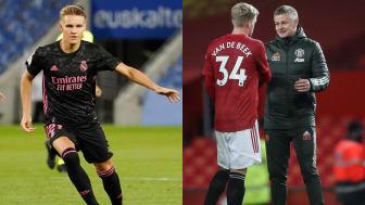 Martin Ødegaard og Real Madrid møter Shakhtar Donetsk. Donny van de Beek, Ole Gunnar Solskjær og Manchester United tar imot PSG. FOTO: Ritzau Scanpix